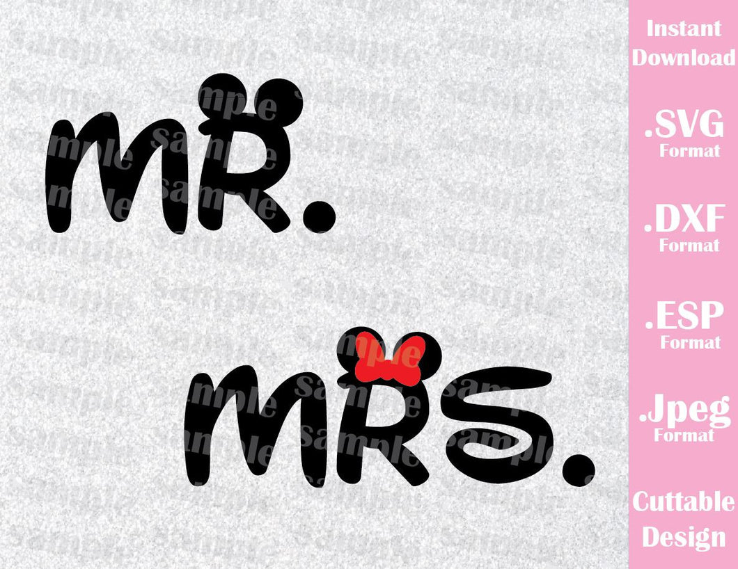 Mickey and Minnie Ears Mr. and Mrs. Couple Inspired Cutting File in SVG, ESP, DXF and JPEG Forma