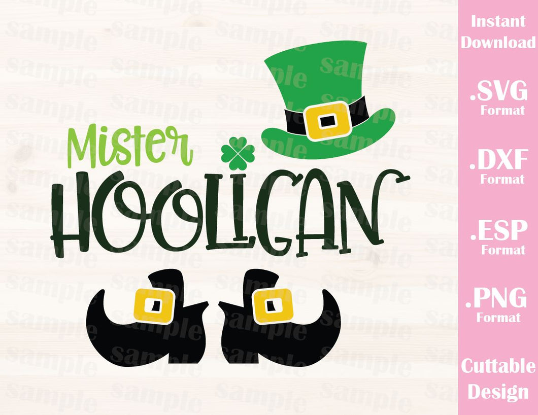 St. Patrick's Day Quote, Mr. Hooligan, Baby, Kid, Cutting File in SVG, ESP, DXF and PNG Format for Cricut and Silhouette