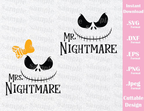 Jack Skellington Mr and Mrs Nightmare Couple Halloween Inspired Cutting File in SVG, EPS, DXF and PNG Format