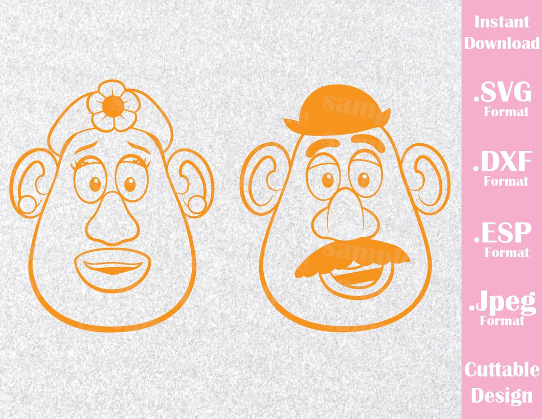 Mr and Mrs Potato from Toy Story Couple Inspired Cutting File in SVG, ESP, DXF and JPEG Format