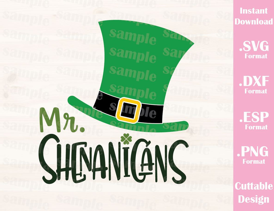 St. Patrick's Day Quote, Mr. Shenanigans, Baby, Kid, Cutting File in SVG, ESP, DXF and PNG Format for Cricut and Silhouette