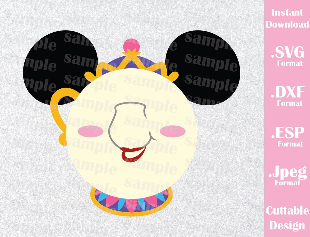 Mrs. Potts Mickey Ears Inspired Cutting File in SVG, ESP, DXF and JPEG Format