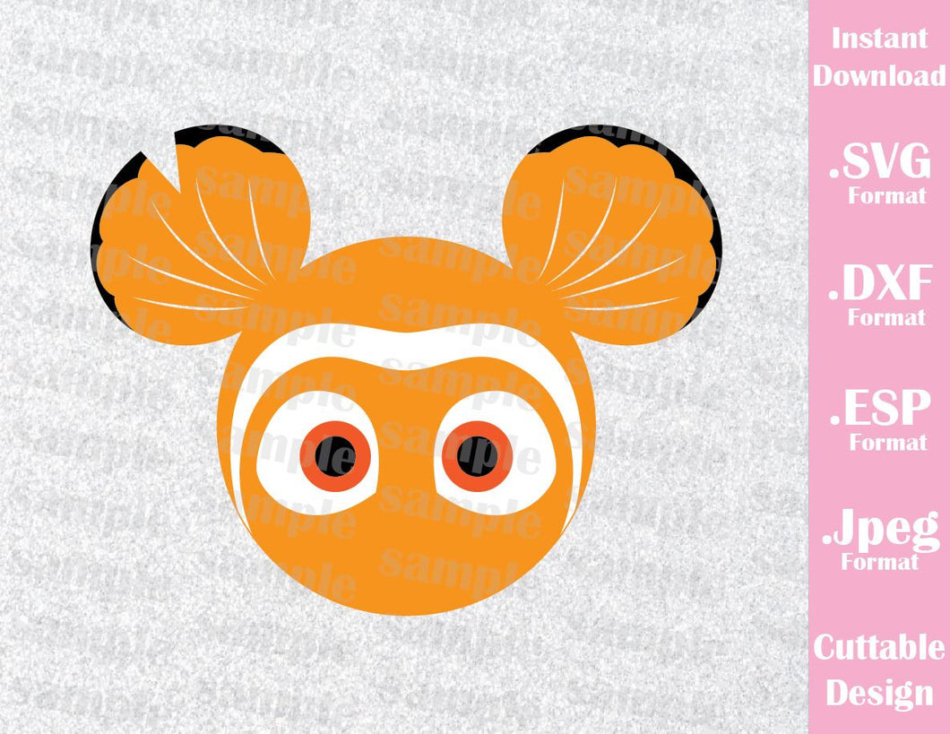 Nemo Mickey Ears Inspired Cutting File in SVG, ESP, DXF and JPEG Format