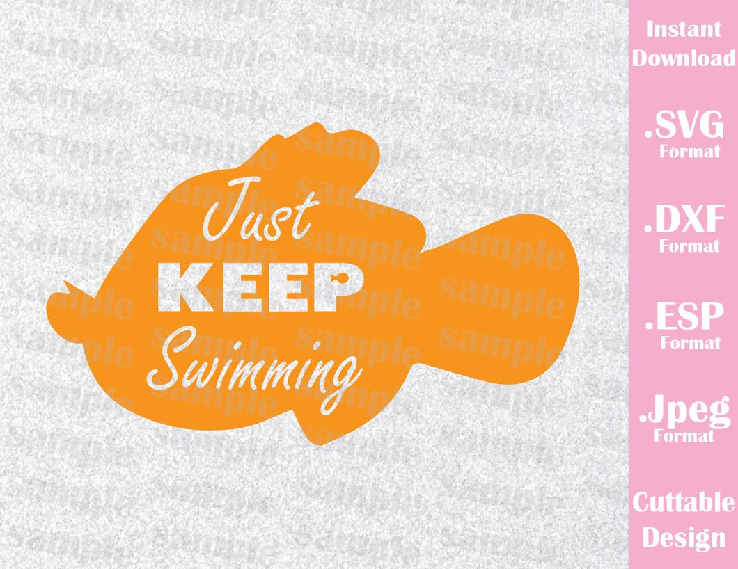 Nemo Quote Just Keep Swimming Disney Inspired Family Vacation Cutting File in SVG, ESP, DXF and JPEG Format