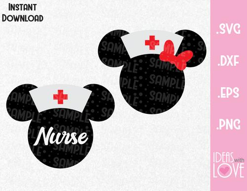 Nurse Minnie Mouse Ears Inspired SVG, EPS, DXF, PNG Format