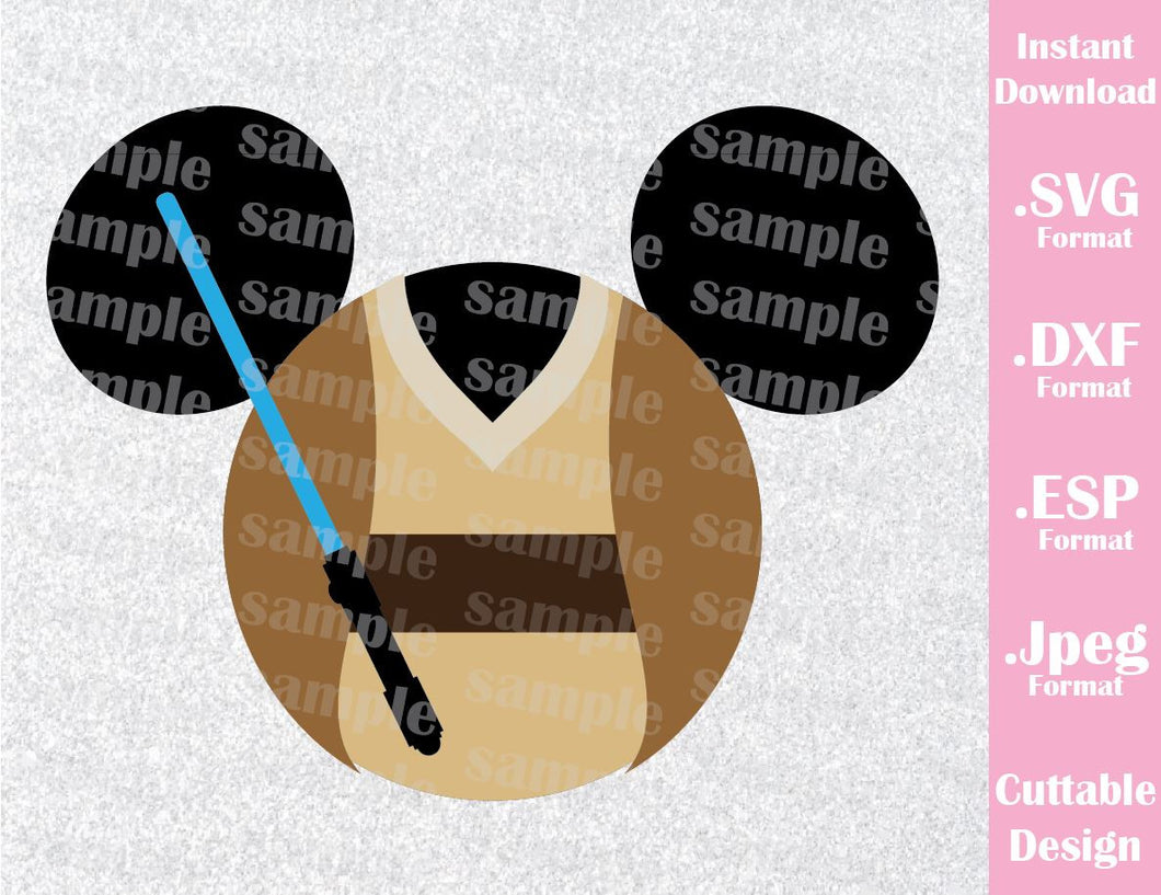 Obi Wan Mickey Ears Star Wars Inspired Cutting File in SVG, ESP, DXF and JPEG Format