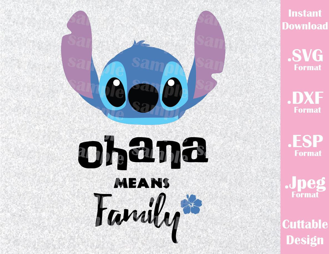 Stitch Ohana Inspired Cutting File in SVG, ESP, DXF and JPEG Format