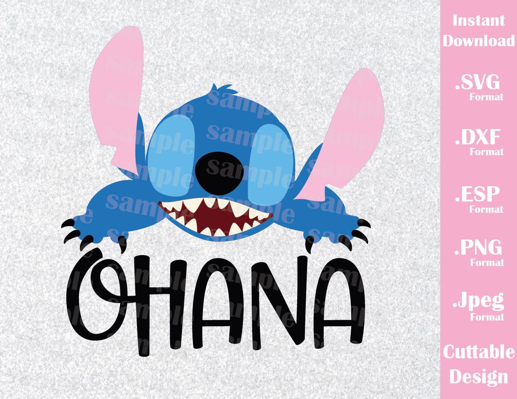 Disney Inspired Stitch Quote Ohana Lilo And Stitch Cutting File In