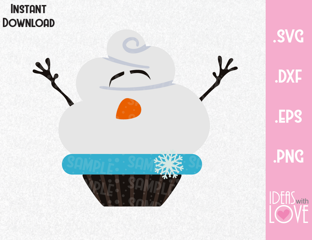 Frozen Olaf Cupcake Inspired SVG, EPS, DXF, and PNG Formats