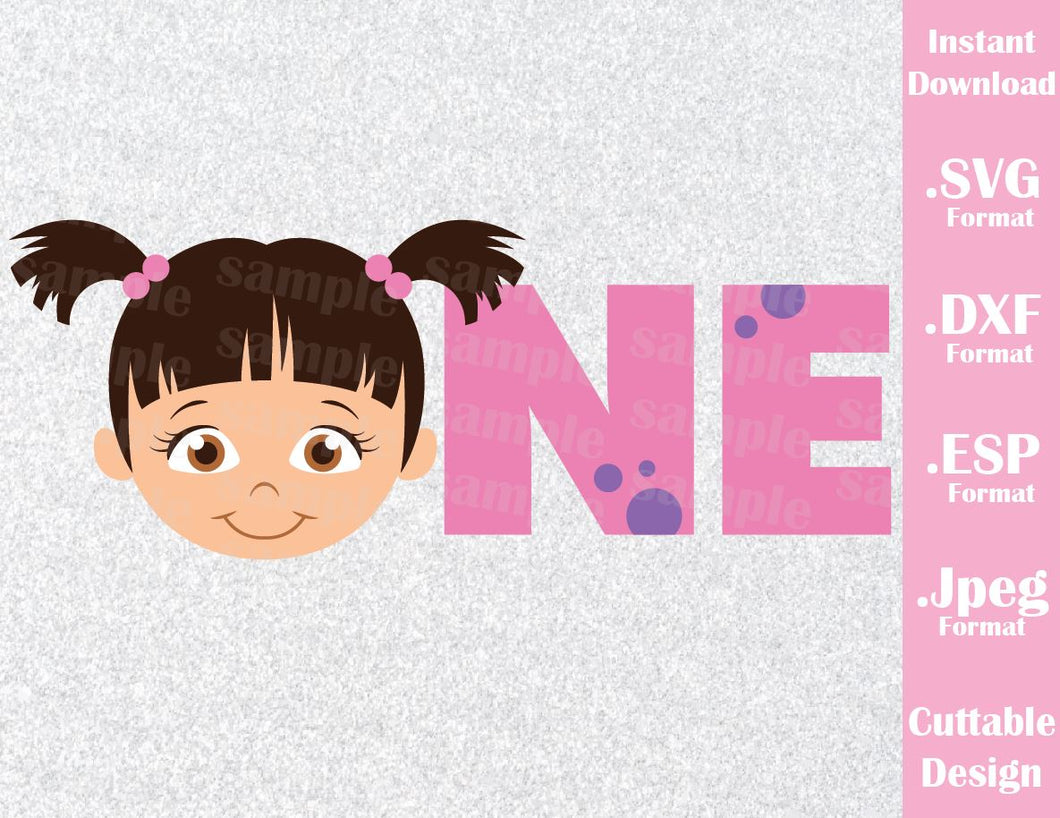 Baby Boo Birthday Girl One Monster Inc Inspired Cutting File in SVG, EPS, DXF and JPEG Format