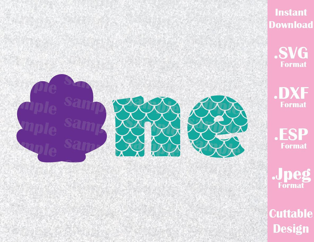 One Mermaid, Birthday Girl Little Mermaid Inspired Cutting File in SVG, ESP, DXF and JPEG Format
