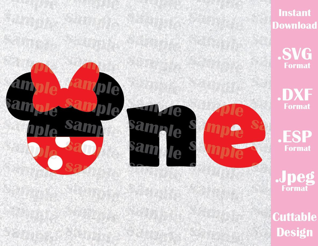 Minnie Ears One Birthday Girl Inspired Cutting File in SVG, ESP, DXF and JPEG Format