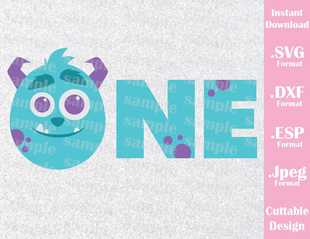 Baby Sulley Birthday Boy One Monster Inc Inspired Cutting File in SVG, ESP, DXF and JPEG Format