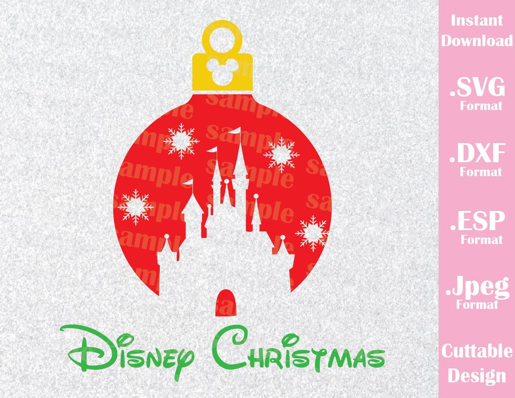 Castle Christmas Ornament Inspired Family Vacation Cutting File in SVG, ESP, DXF and JPEG Format