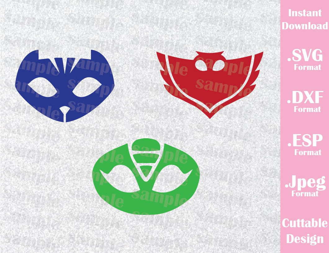PJ Masks Kids Characters Cat Boy Gekko Owlette Logo Cutting File in SVG, ESP, DXF and JPEG Format
