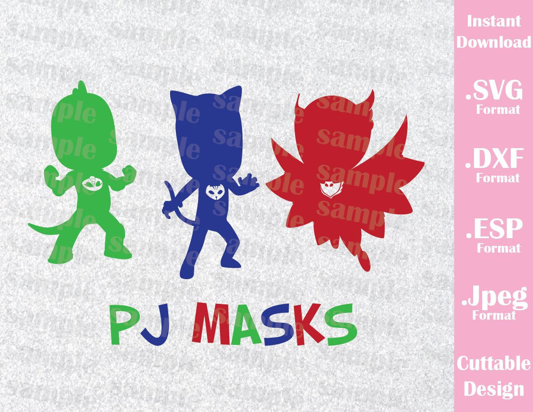 PJ Masks Kids Characters Cat Boy Gekko Owlette Cutting File in SVG, ESP, DXF and JPEG Format