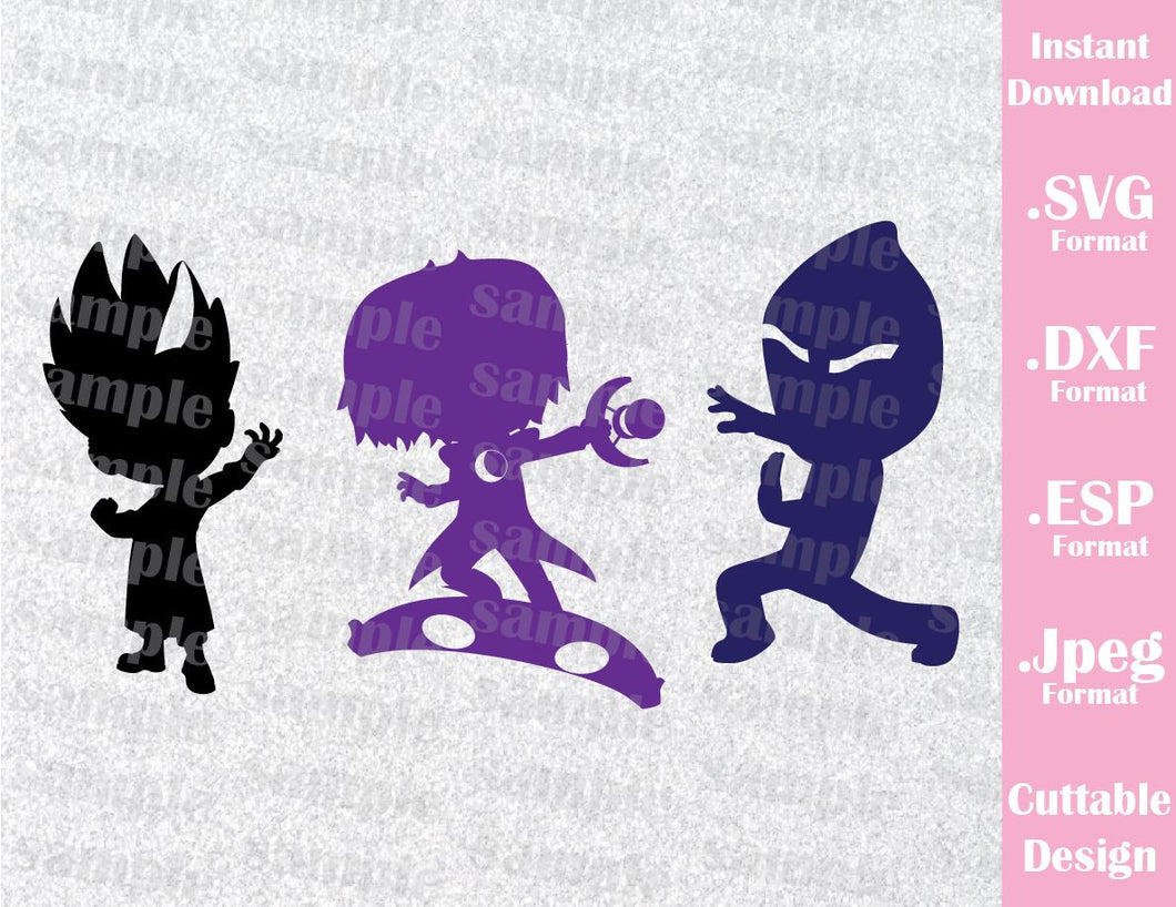PJ Masks Kids Characters Luna Romeo Ninja Villains Cutting File in SVG, ESP, DXF and JPEG Format