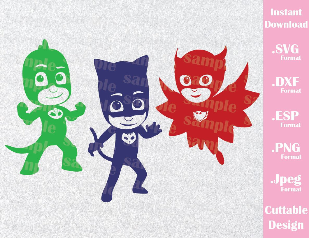 PJ Masks Kids Characters Cat Boy Gekko Owlette Inspired Cutting File in SVG, ESP, DXF, PNG and JPEG Format
