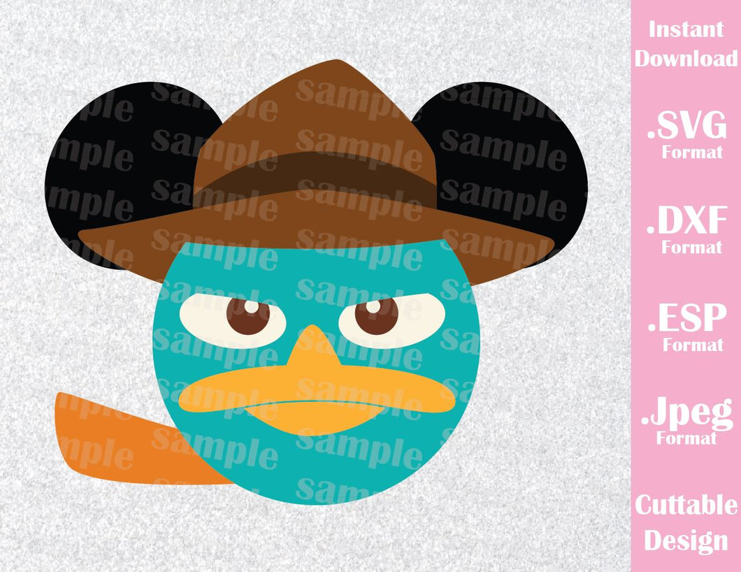 Perry the Platypus Mickey Ears Inspired Cutting File in SVG, ESP, DXF, PNG and JPEG Format