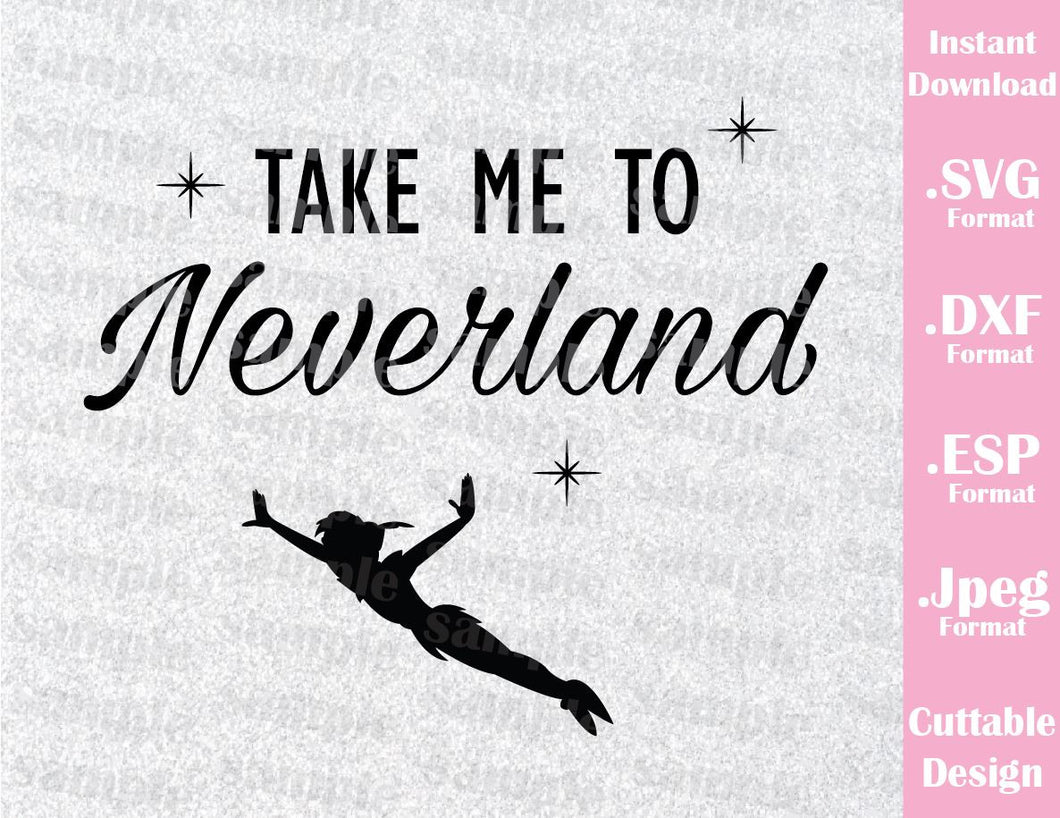 Peter Pan Quote Neverland Inspired Cutting File in SVG, ESP, DXF and JPEG Format