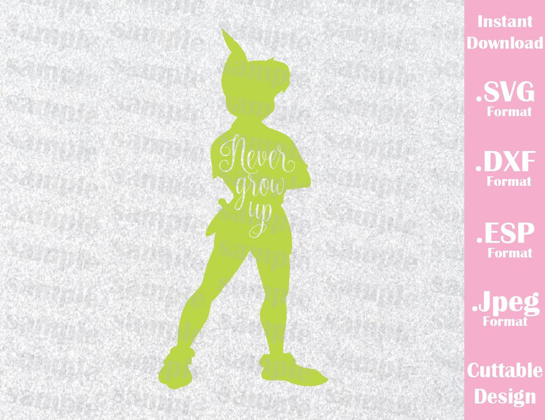 Peter Pan Quote Never Grow Up Neverland Inspired Cutting File in SVG, ESP, DXF and JPEG Format