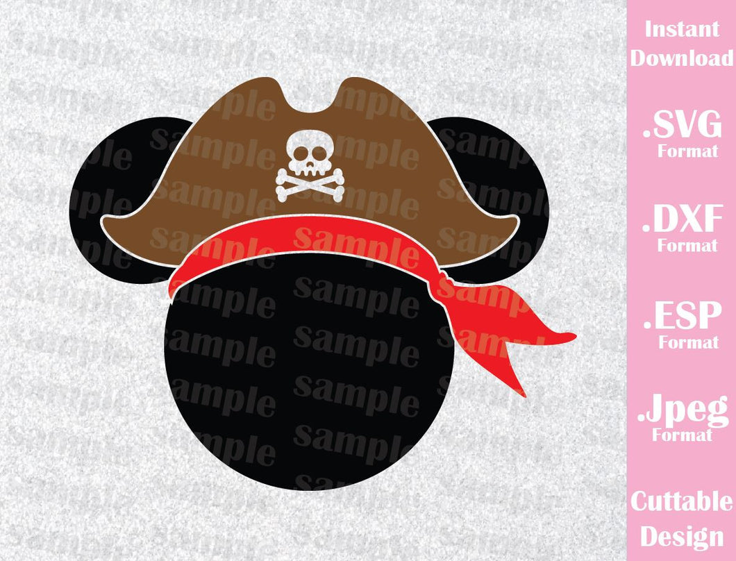 Mickey Mouse Pirate Disney Cruise Inspired Mouse Ears Family Vacation Cutting File in SVG, ESP, DXF and JPEG Format
