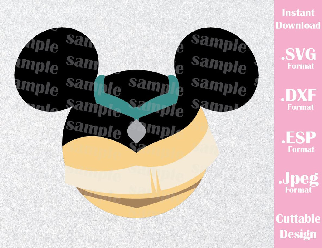 Princess Pocahontas Mickey Ears Inspired Cutting File in SVG, ESP, DXF and JPEG Format