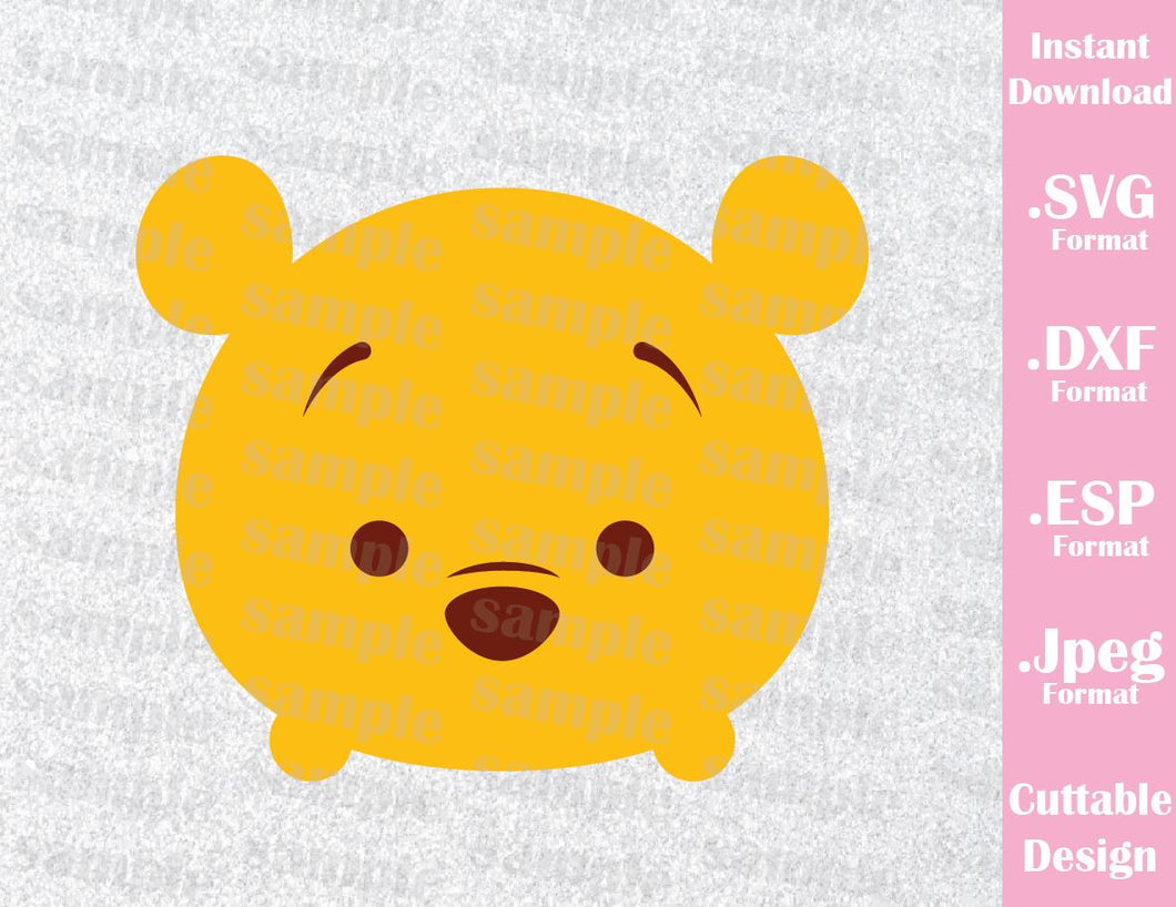 Winnie the Pooh Tsum Tsum Inspired Cutting File in SVG, ESP, DXF and JPEG Format