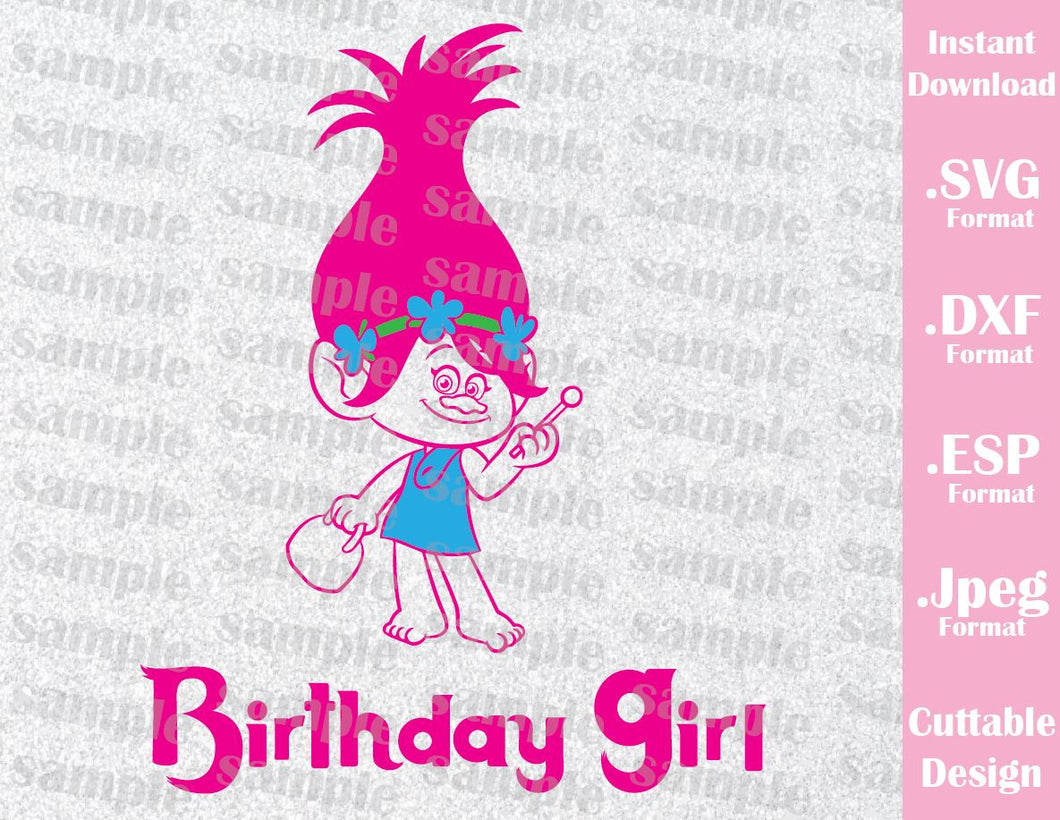 Trolls Princess Poppy Birthday Girl Cutting File in SVG, ESP, DXF and JPEG Forma