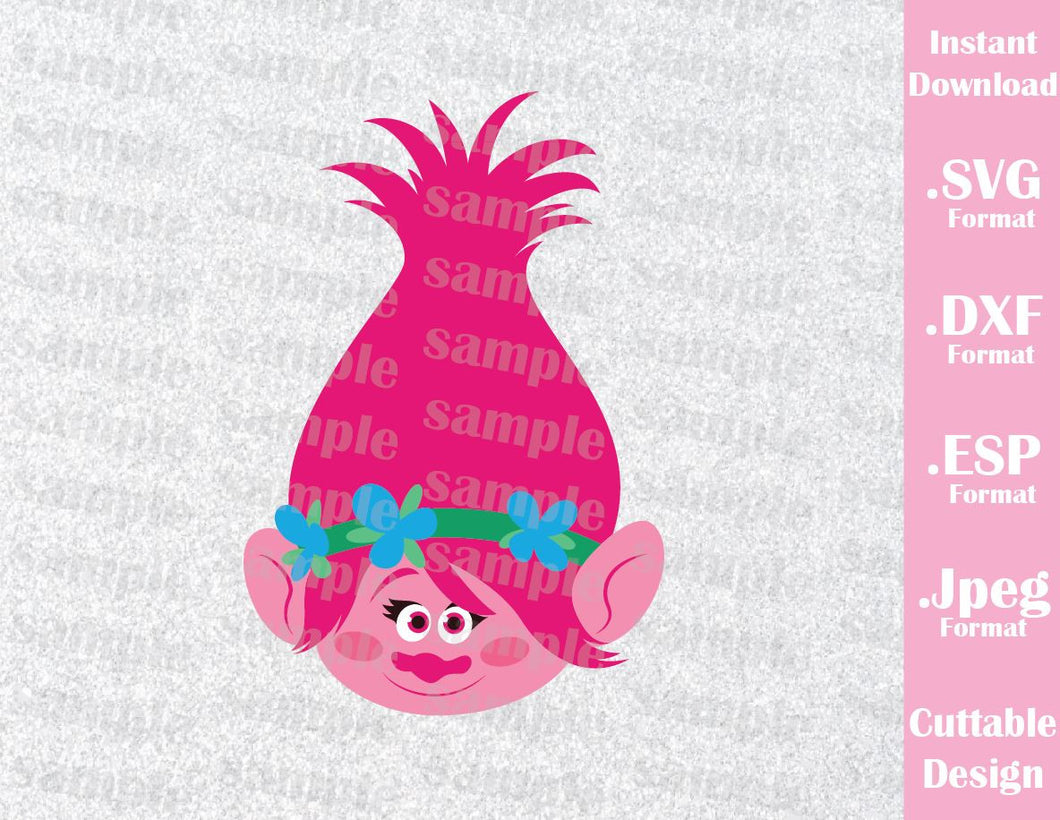 Trolls Hair Kids Characters Princess Poppy Face Girls Cutting File in SVG, ESP, DXF and JPEG Format