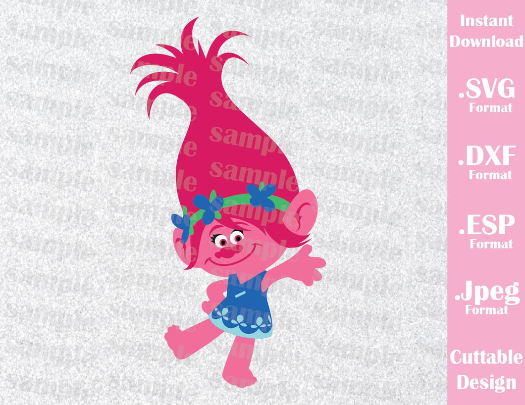 Trolls Hair Kids Characters Princess Poppy Girls Cutting File in SVG, ESP, DXF and JPEG Format