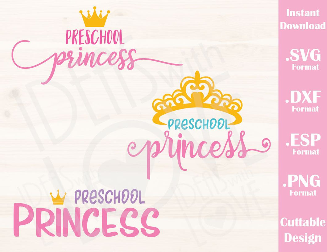 Preschool Princess Bundle (Includes 3 Designs) Cutting File in SVG, ESP, DXF and PNG Format for Cutting Machines