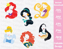 Princesses Bundle, Ariel, Jasmine, Aurora, Mulan, Belle, Cinderella, Elsa, Rapunzel, Snow White, Tiana, Pocahontas and Merida, Inspired Cutting Files in SVG, EPS, DXF, PNG and JPEG Formats