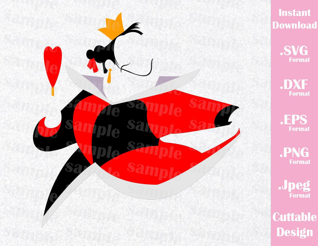 Queen of Hearts Villain Inspired Cutting Machines File in SVG, ESP, DXF, PNG and JPEG Format for Cricut and Silhouette