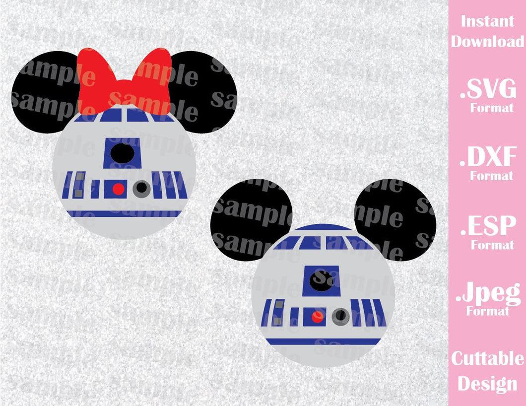R2D2 Mickey and Minnie Ears Star Wars Inspired Cutting File in SVG, ESP, DXF and JPEG Format