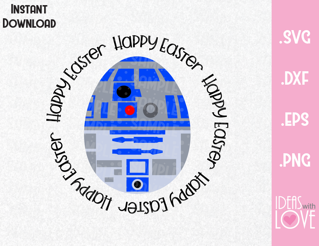 Happy Easter R2D2 Egg Inspired SVG, EPS, DXF, PNG