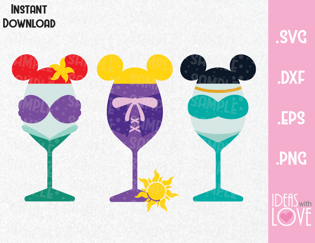 Wine Glass Princesses Ariel, Rapunzel and Jasmine Inspired SVG, EPS, DXF, PNG