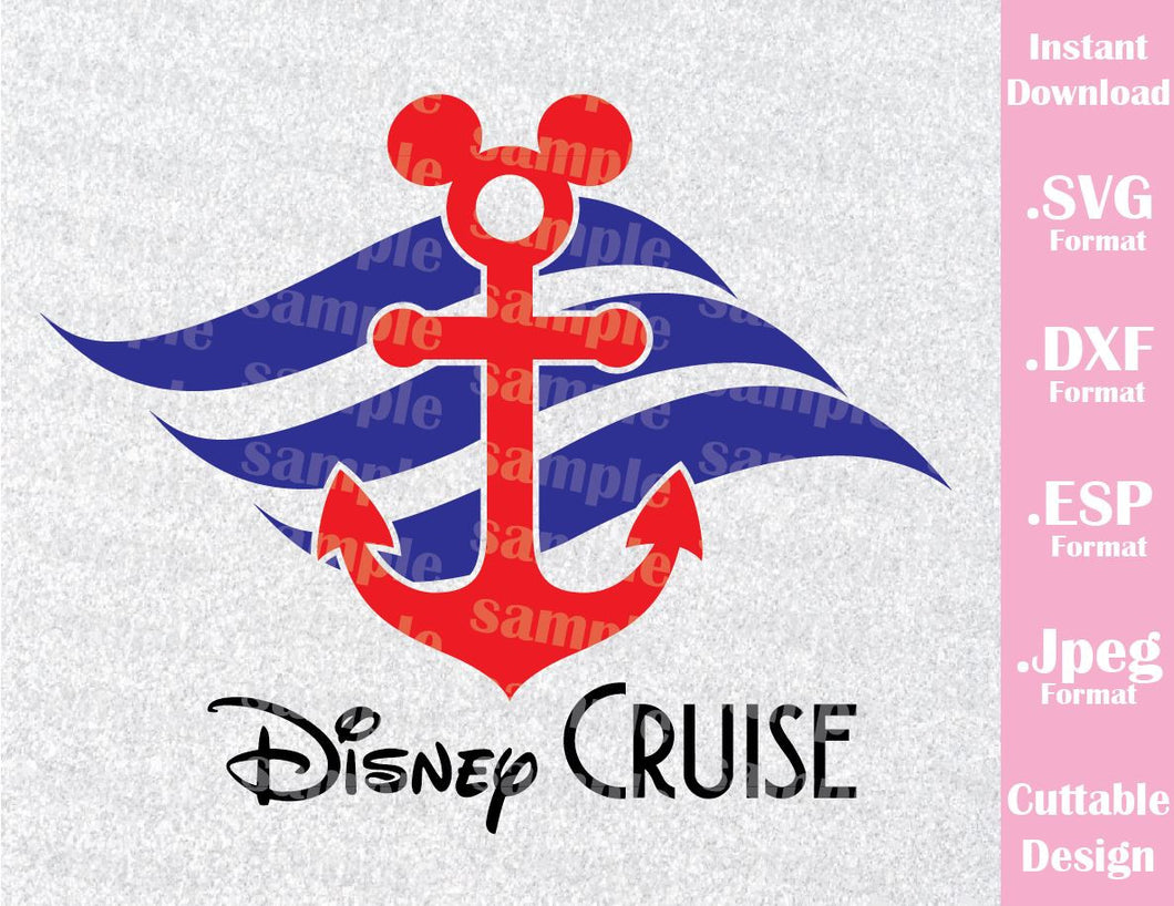 Anchor Mickey Mouse Ears Cruise Logo Disney Inspired Family Vacation Cutting File in SVG, ESP, DXF and JPEG Format