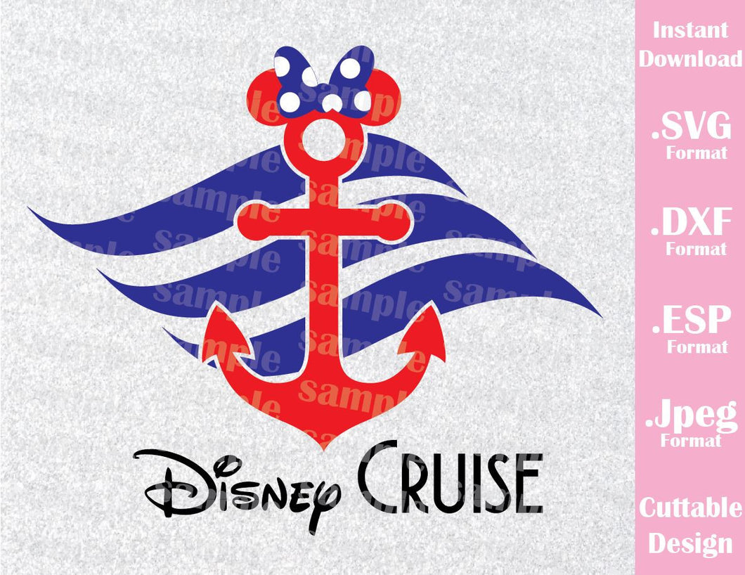 Anchor Minnie Ears Cruise Inspired Cutting File in SVG, ESP, DXF and JPEG Format