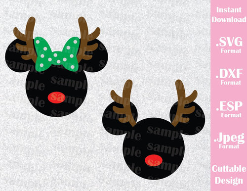 Mickey and Minnie Mouse Ears Reindeer Disney Christmas Inspired Cutting File in SVG, ESP, DXF and JPEG Format