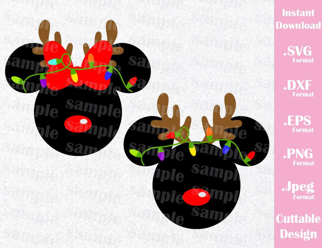 Mickey and Minnie Ears Reindeer Christmas Inspired Cutting File in SVG, ESP, DXF, PNG and JPEG Format