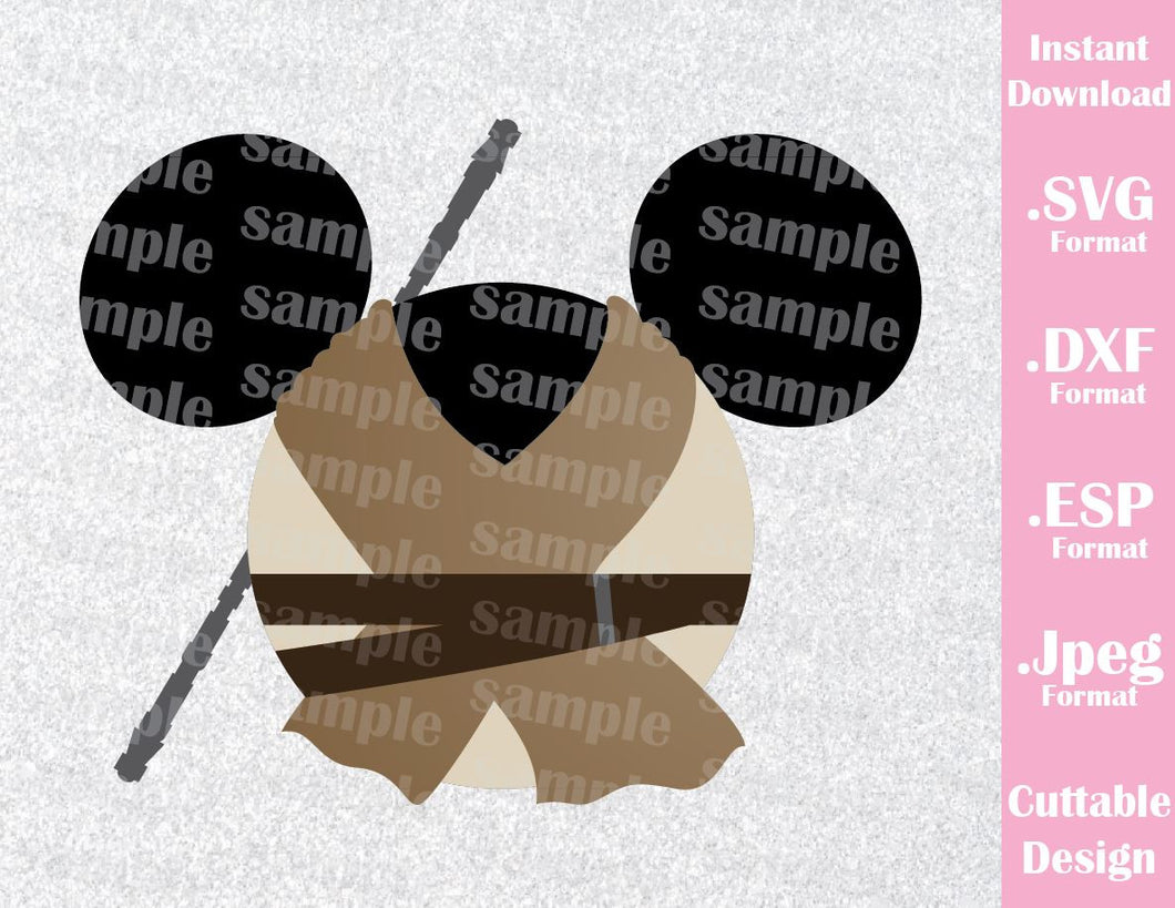 Rey Mickey Ears Star Wars Inspired Cutting File in SVG, ESP, DXF and JPEG Format