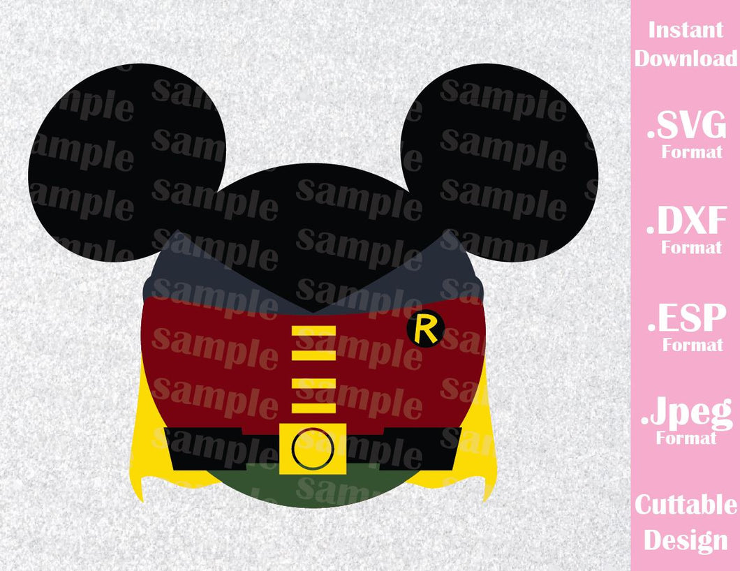 Robin Superhero Mickey Ears Disney Inspired Cutting File in SVG, ESP, DXF and JPEG Format
