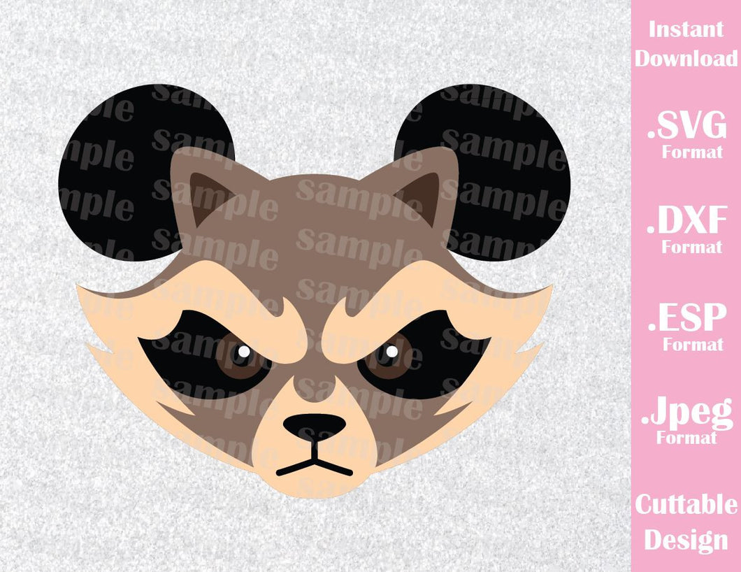 Guardian of the Galaxy Rocket Raccoon Mickey Ears Disney Inspired Cutting File in SVG, ESP, DXF and JPEG Format
