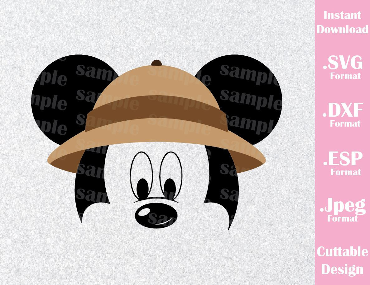 36aac32208f9d Animal Kingdom Mickey Mouse Ears Safari Hat Disney Inspired Family Vacation  Cutting File in SVG