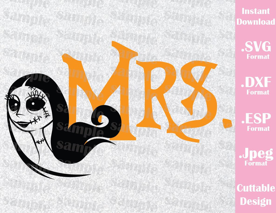 Sally Mrs. Quote Disney Halloween Inspired Cutting File in SVG, ESP, DXF and JPEG Format