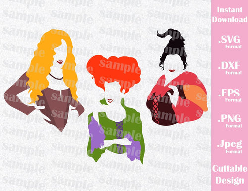 Hocus Pocus Sanderson Witches, Mary, Winnie, Sarah Halloween Inspired Cutting File in SVG, EPS, DXF, PNG and JPEG Format