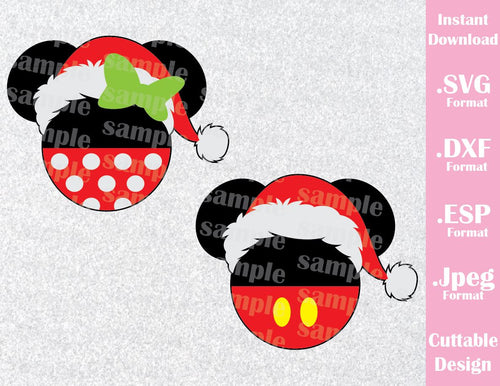 Mickey and Minnie Mouse Ears Christmas Santa Hat Disney Inspired Cutting File in SVG, ESP, DXF and JPEG Format