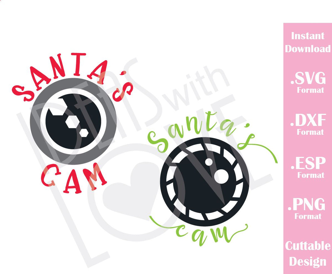 Santa's Cam Christmas Quote Kids Family Vacation Cutting File in SVG, ESP, DXF and PNG Format for Cricut and Silhouette