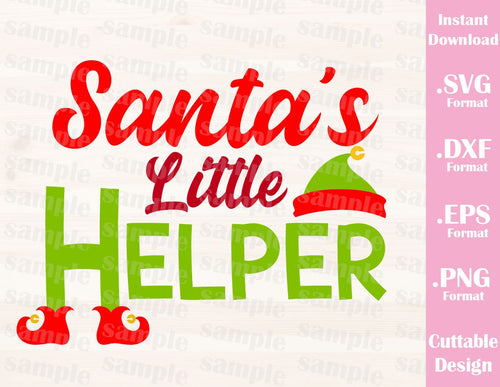 Santa's Little Helper, Christmas Quote, Cutting File in SVG, ESP, DXF and PNG Format for Cricut and Silhouette